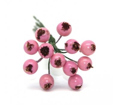 Декоративный букетик ягоды, цвет розовый, DKB193H