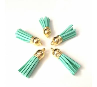 Декоративная кисточка из искусственной замши, зеленый с золотом, арт. KA105504.